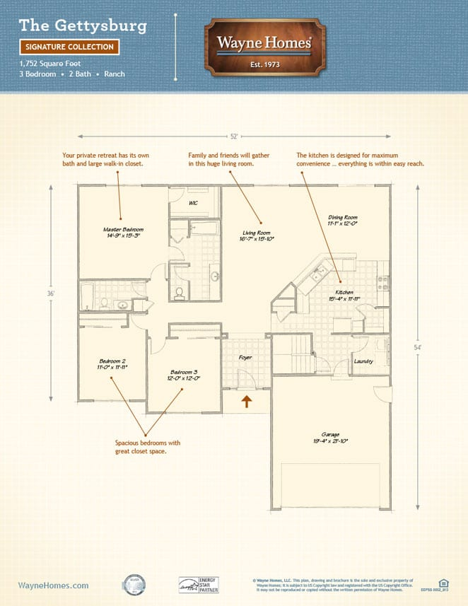 ranch style floor plans the gettysburg wayne homes