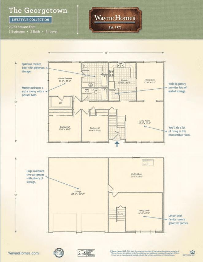 Split Level Custom Home Floor Plan: The Georgetown | Wayne Homes