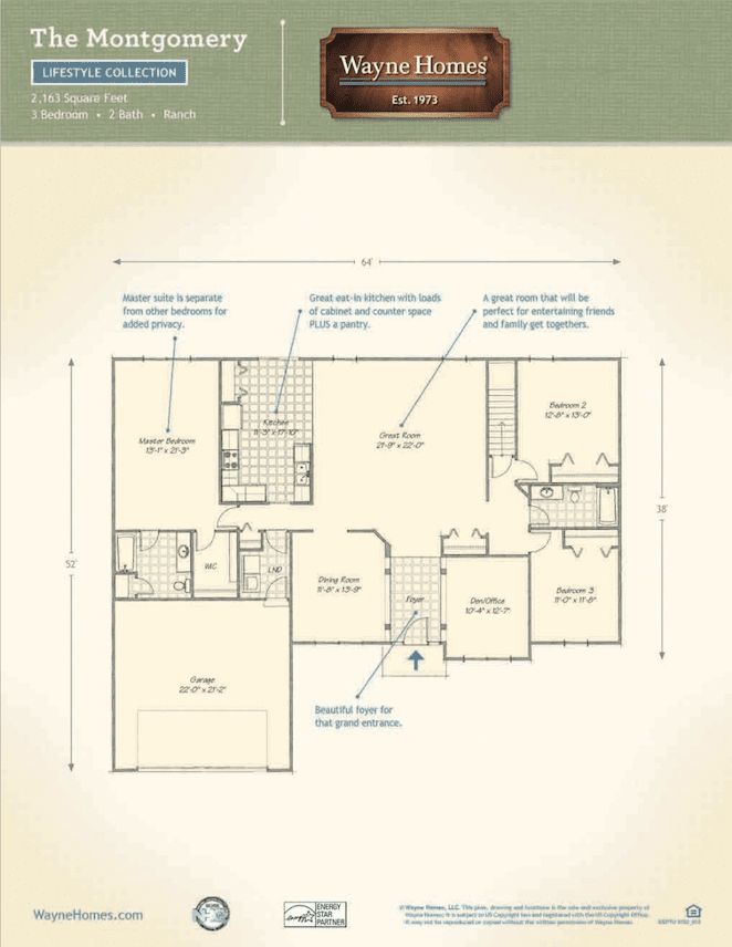 Popular Ranch Style Floor Plans The Montgomery Wayne Homes