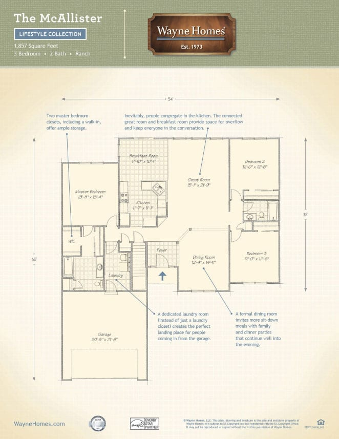 Modern ranch house floor plans the mcallister wayne homes Wayne homes floor plans