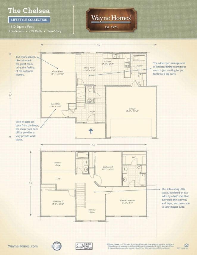 Craftsman Style Custom Homes Floor Plans The Chelsea