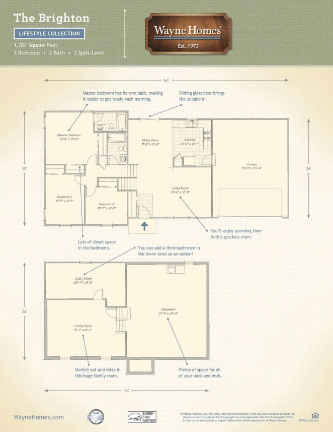 Custom home floor plans the brighton split level wayne Wayne homes floor plans