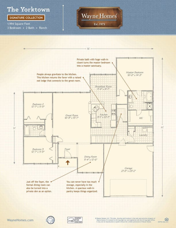 Ranch home floor plans the yorktown wayne homes Wayne homes floor plans