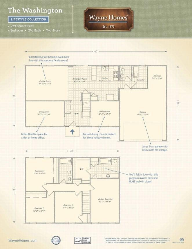 Traditional custom home floor plans the washington for Wayne homes floor plans