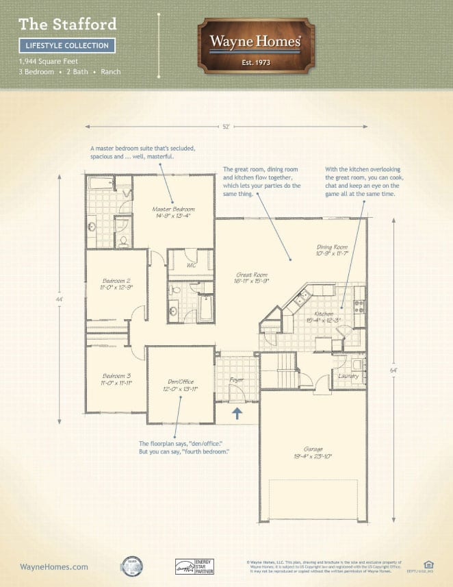 ranch style floor plans the stafford wayne homes