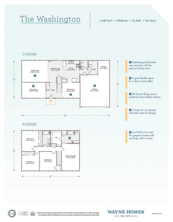 Washington Floor Plan Two Story Custom Home Wayne Homes