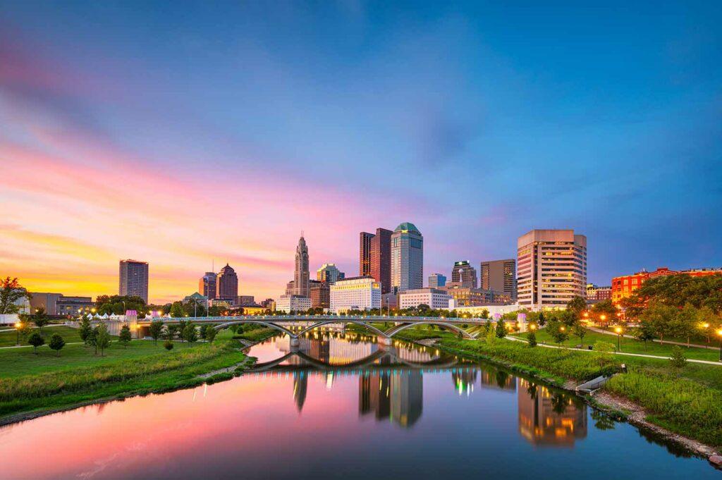 Columbus, Ohio, skyline on the river at dusk