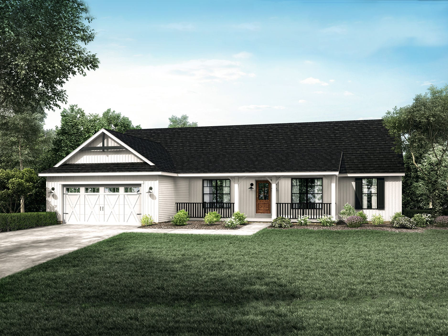Popular ranch style floor plans the montgomery wayne homes for Farmhouse ranch house plans