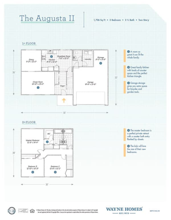 augusta ii floor plan two story custom home wayne homes rh waynehomes com