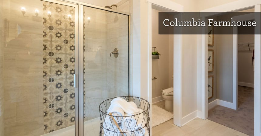Daltile Linden Point geometric tile feature in the master shower of the Columbia Farmhouse Model by Wayne Homes