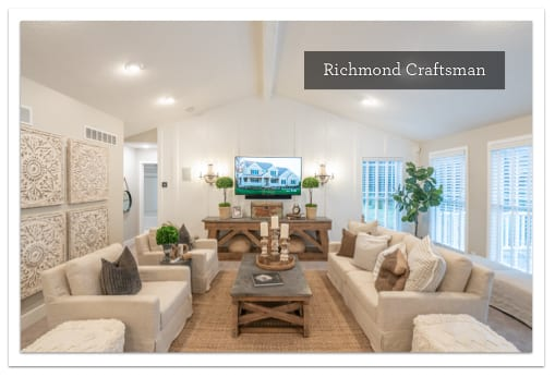 A neutral living room in the Richmond Craftsman